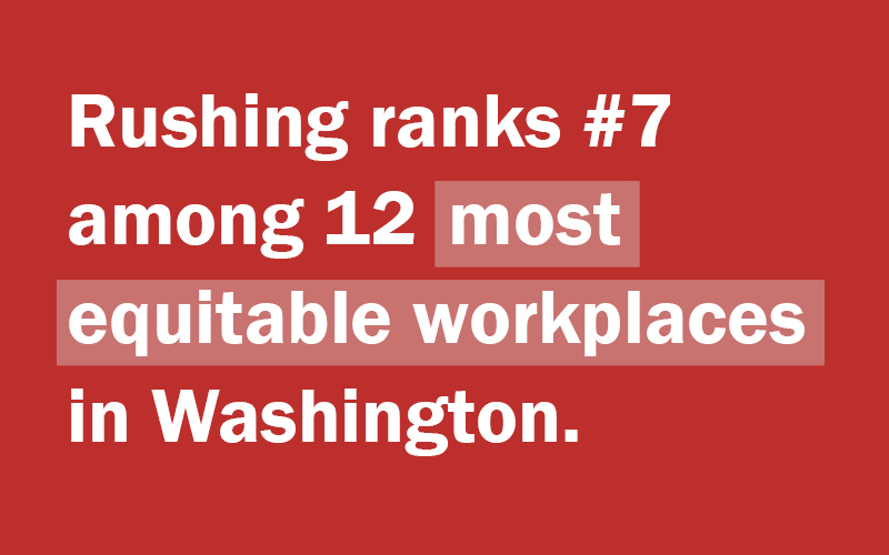 Rushing ranked #7 on most equitable workplaces 2020
